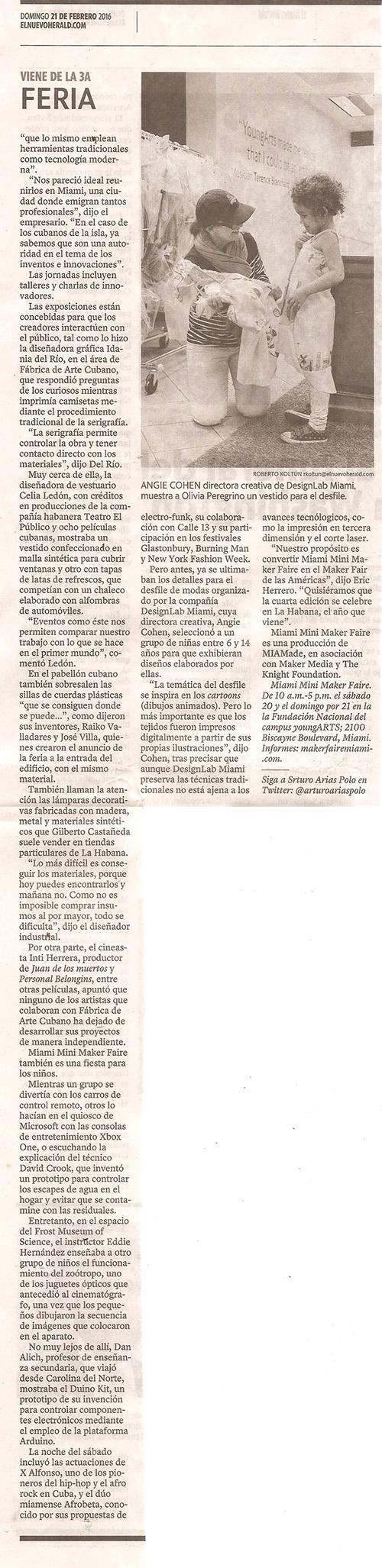 El Nuevo Herald article
